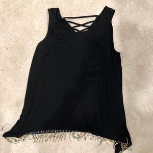 Black tank with beads at bottom 14/16